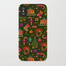 christmas x-stitch pattern for the holiday mood iPhone X Slim Case