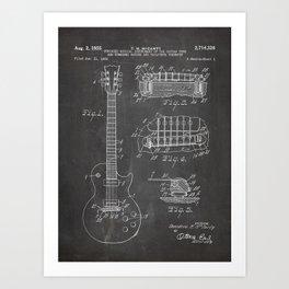 Gibson Guitar Patent - Les Paul Guitar Art - Black Chalkboard Art Print