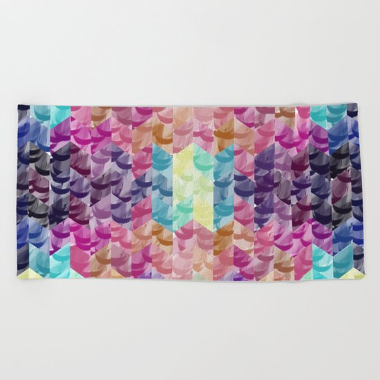 Crystal geometric Background Beach Towel