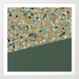 Terrazzo Texture Military Green #4 Art Print