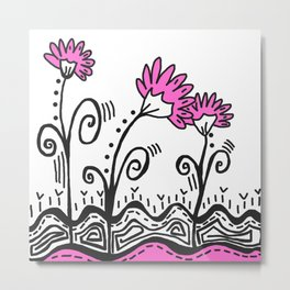Three Spring Flowers - Pink Metal Print