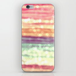 Whimsical Pastel Bokeh Stripes iPhone Skin