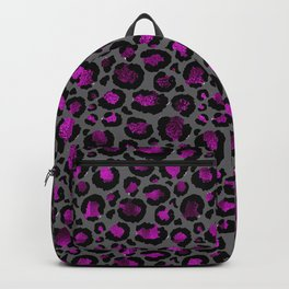 Black & Metallic Purple Leopard Print Backpack