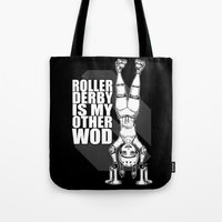 crossfit Tote Bags featuring Roller Derby is My Other Wod Crossfit by RonkyTonk