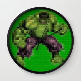Green monster - Toy Building Bricks Wall Clock