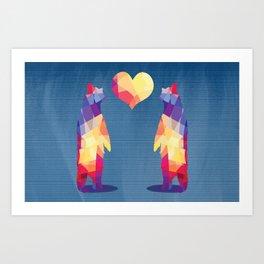 Geometric Bears - Blue Art Print