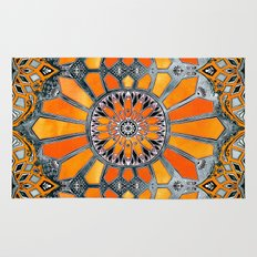 Celebrating the 70's - tangerine orange watercolor on grey Rug
