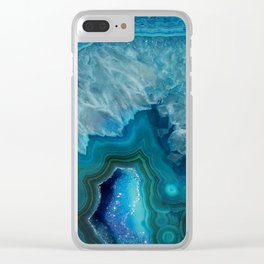 Agate Crystal Slice Clear iPhone Case