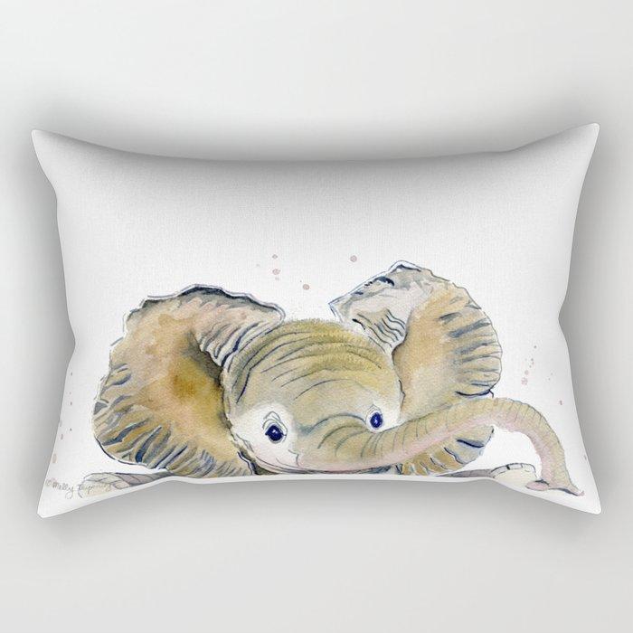 Hello,Anybody At Home? - Baby Elephant Rectangular Pillow
