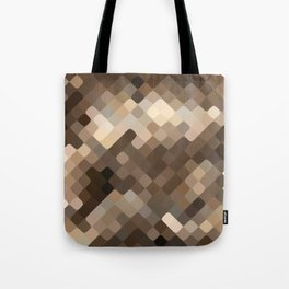 Cool Beige Brown Abstract Rounded Squares Pattern Tote Bag