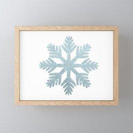 Blue Glitter Snowflake Framed Mini Art Print