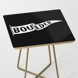 Boulder Colorado Pennant Flag B&W // University College Dorm Room Graphic Design Decor Black & White Side Table