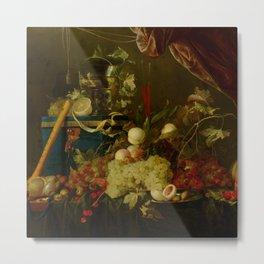 "Jan Davidsz de Heem ""Sumptuous Fruit Still Life with Jewellery Box"" Metal Print"