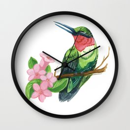 Summer Hummingbird Wall Clock