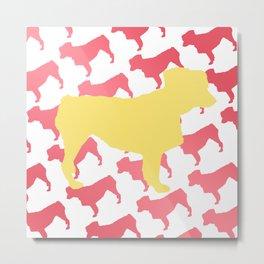 Australian Shepherd with Pink/Yellow Silhouettes Metal Print