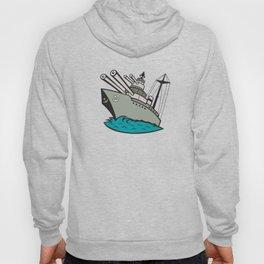 World War Two Battleship Cartoon Hoody