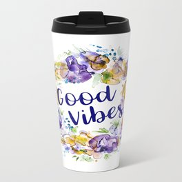 Good Vibes - Floral wreath watercolor Travel Mug