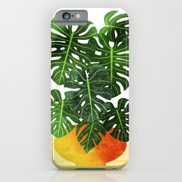 Monstera Swiss Cheese Plant In Mid Century Pot iPhone Case