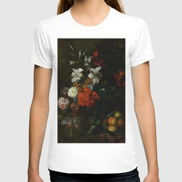 "Ernest Stuven ""Poppies, lilies, roses and other flowers in a glass vase on a draped marble ledge"" T-shirt"