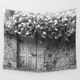 Old Italian wall overgrown with roses Wall Tapestry