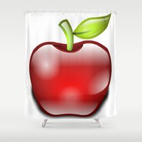 apple Shower Curtains featuring APPLE by Acus