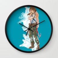 tomb raider Wall Clocks featuring Tomb Raider by Robbie Drew Dixon