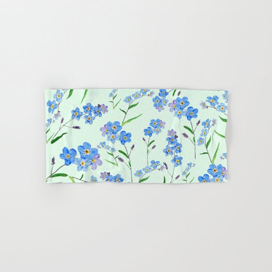 forget me not in green background  Hand & Bath Towel