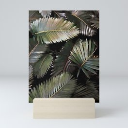 Dark Palm Leaves Mini Art Print