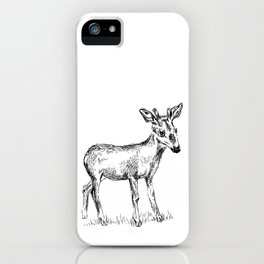 Young deer black and white sketch iPhone Case