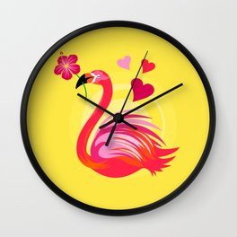 Flamingo Love2 Wall Clock