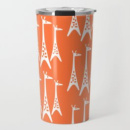 Mid Century Modern Giraffe Pattern 221 Orange Travel Mug