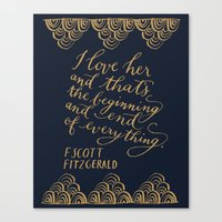 fitzgerald Canvas Prints featuring F. Scott Fitzgerald Quote by imkellycummings
