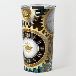 Two Steampunk Clocks with Gears Travel Mug