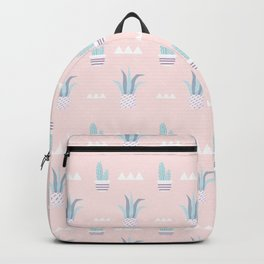Blush pink blue white summer cactus modern floral Backpack