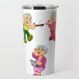 Funny illustration of old woman and old man  Travel Mug