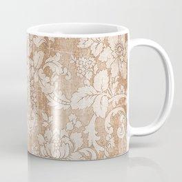 Vintage white brown grunge shabby floral Coffee Mug
