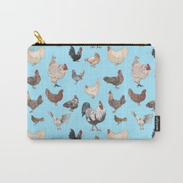 Chicken Happy (blue) Carry-All Pouch