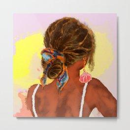 Watercolor painting of summer boho girl Metal Print