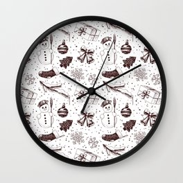 Christmas seamless pattern Wall Clock
