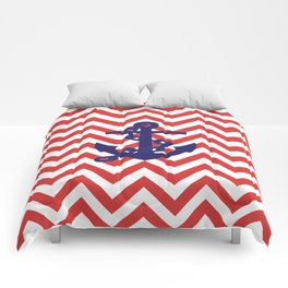 Blue Anchor on Red and White Chevron Pattern Comforters