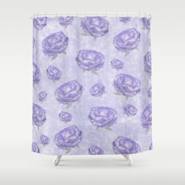 Watercolour purple peonies flowery pattern Shower Curtain