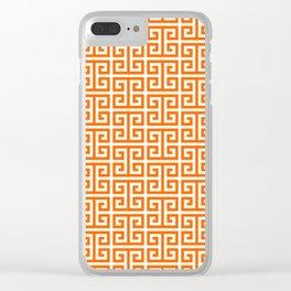 Orange and White Greek Key Pattern Clear iPhone Case