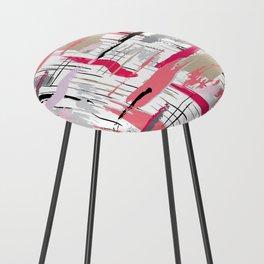 Pink Brushstroke Counter Stool