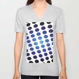 BLACK AND BLUE CIRCLES Abstract Art Unisex V-Neck
