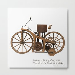 Daimler Riding Car, 1885. The world's first motorbike. Metal Print