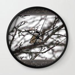 Winter Windblown Black-Capped Chickadee Wall Clock