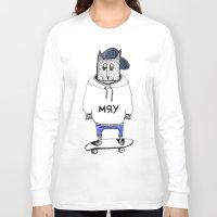russian Long Sleeve T-shirts featuring Russian cat by KRADA ZHAN ART