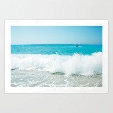 Minimal turquoise ionian wave - Porto Katsiki beach Art Print