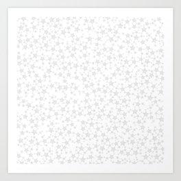 Block Print Silver-Gray and White Stars Pattern Art Print