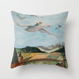 Nils Holgersson Throw Pillow